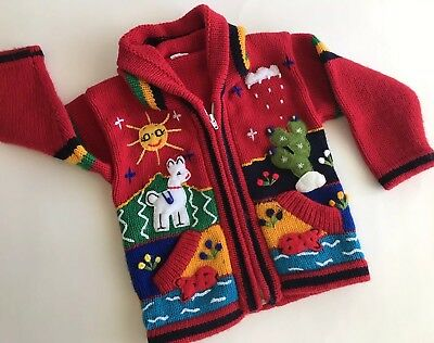 H & M 2-4y Toddler Boys/Girls Knit Hoodie Sweater w/Pockets Zipper Appliqué