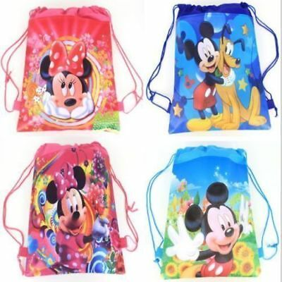 Mickey Mouse Minnie Drawstring Backpack Bag Girl's School Sling Tote Gym Bag Fr