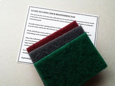 3 X Large Refinishing Pads Stainless Steel Watch Scratch Removal Restoration *
