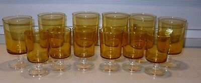 12 Vintage Yellow GLASS LUMINARC CAVALIER WINE Sherry  GLASSES 4 oz & 8 oz
