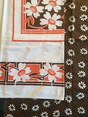Vintage Screen Print Tablecloth Lot, 2 Orange Floral, Rectangular 50-70s, Vera
