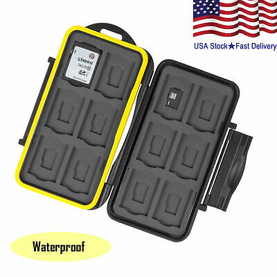 Memory Card Holder Water Resistant Storage Case Fits 12 SD+12 Micro SD TF Card