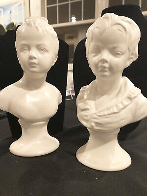 Pair Mid Century Vintage Sculpture Girl Boy Bust Figures Statue White Bisque