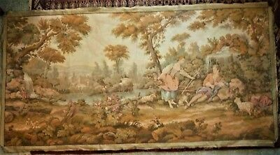 Lovely Large Vintage French Wall Tapestry - Idyllic Romantic Country Scene