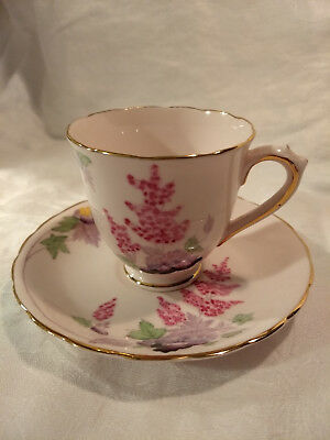 Tuscan English Bone China Cup and Saucer, Pink Astilbe, Perfect