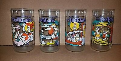 1991 Hanna-Barbera The Flintstones First 30 Years Glass Set Of 4 Hardees Libbey