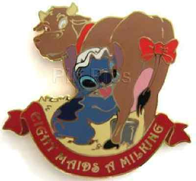 Disney Auctions Stitch Eight Maids A Milking 12 Days of Christmas LE 100 Pin