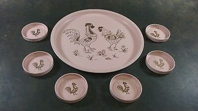 Vintage Tin Pink Drink Tray With Coasters 7 Pcs Tole Ware Chickens