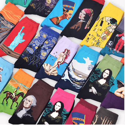 US Mens Cotton Happy Socks Warm One Size Hot Sox Famous Artist Series cozy socks