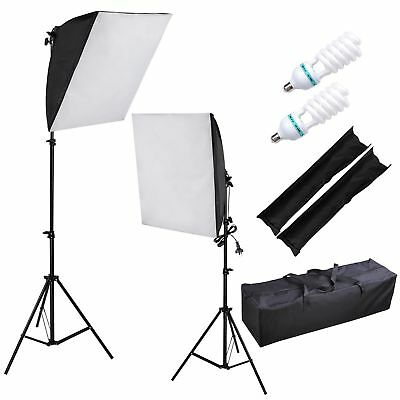 2x135W Photography Soft Box Softbox Light Stand Kit Continuous Lighting Studio