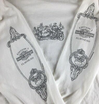 Harley-Davidson Men's White Long Sleeve T-Shirt Flathead 1994 Holoubek Sz L- XL