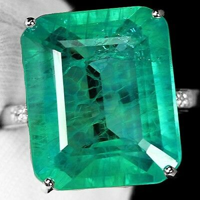Ladies 925 Silver 7.36 CT Green Emerald Ring Wedding Engagement Band Jewelry