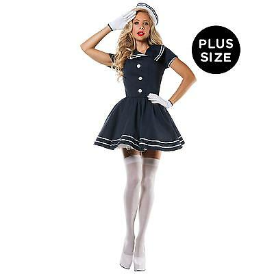 Sexy Pin-Up Captain Halloween Costume Women Adult Plus Size