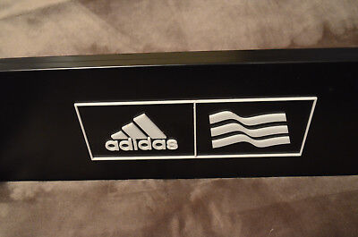 ADIDAS Black / White Metal Heavy Duty Two-Sided Store Display Sign 25X7,5 INCHES