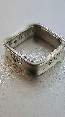 Authentic Sterling 925 Tiffany & Co 1837 Square Band Ring -USED- Small