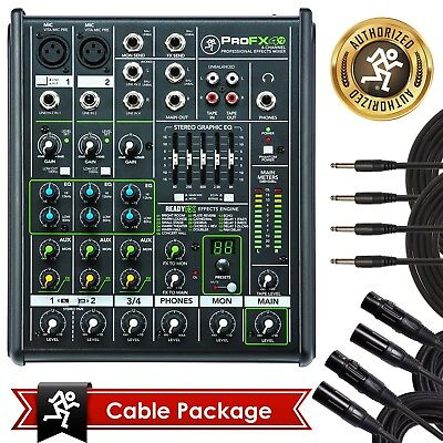 New Mackie PROFX4v2 Pro 4 Channel Compact Mixer w Effects PROFX4 V2 with Bundle