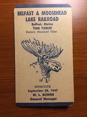 Belfast & Moosehead Lake Railroad Timetable 1947