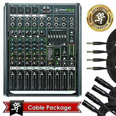 New Mackie PROFX8v2 Pro 8 Channel Compact Mixer w Effects PROFX8 V2 with Bundle