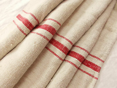 Vtg Antique RED STRIPE European HEMP LINEN FRENCH FEED SACK GRAIN BAG 22x58