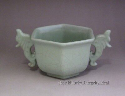 Fine Chinese Song Ru ware Crackle Glaze Porcelain Six parties Cup w Two ears
