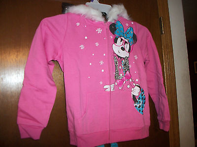 Disney Minnie Mouse  Hooded Zipper sweatshirt dual side graphics New  L-XL Girls