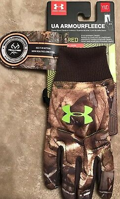 Under Armour Youth Boys Coldgear Infrared Insulator Scent Control Camo Gloves M