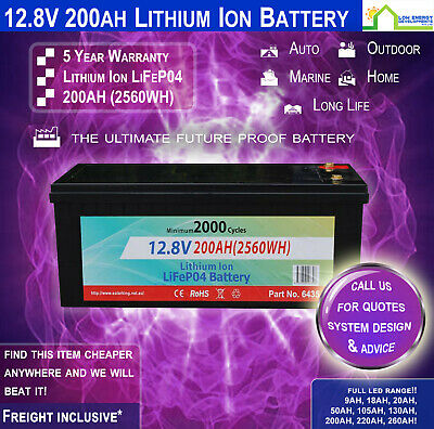 12V 200ah Lithium Ion LiFePo4 Deep Cycle Rechargeable Battery (Now In Stock!)