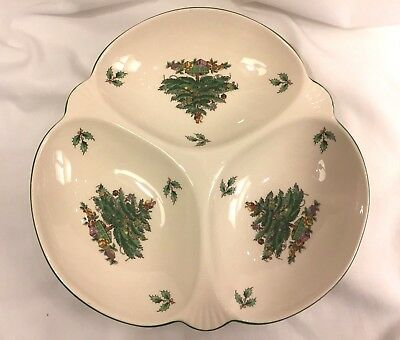 Spode Christmas Tree 3 Part Relish Dish Divided Platter