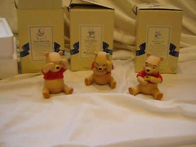 Disney Pooh & Friends porcelain Figurines 3 types of Winnie the Pooh-orig boxes
