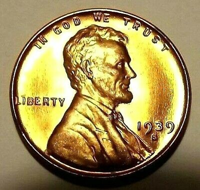 "1939-S Lincoln Wheat 1c""Heavy Strike Amber""GEM+BU/RED""ORIG MINT LUSTER"".FreeS&H"