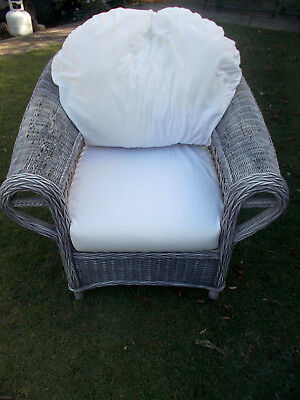 VINTAGE SHABBY CHIC RUSTIC CANE/WICKER/RATTAN LOUNGE ARMCHAIR  with CUSHIONS VGC