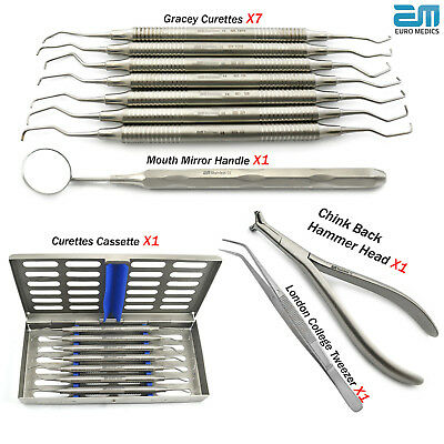 Periodontal Gracey curettes set root canal,calculus removal Dental Cassette New