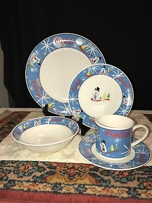 Coca Cola Laughing Snowman Christmas dinnerware 5 Piece Place Setting