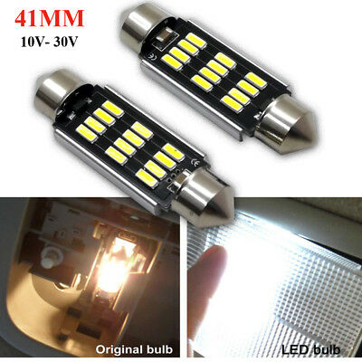 2Pcs Canbus 41mm Festoon 12SMD 4014 Car LED Error Free Dome Reading Light 12-24V