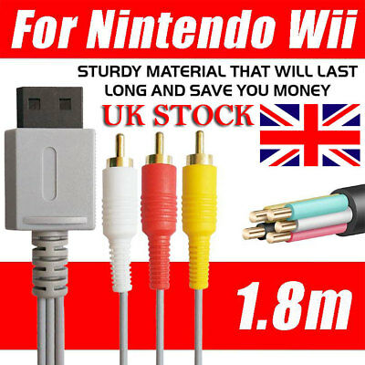 3RCA Audio Video AV Composite Wire Cable TV Lead Cord For Nintendo Wii Game UK