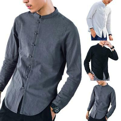 Chinese Style Men Cotton Linen Shirt Vintage Top Long Sleeve Casual T-shirt