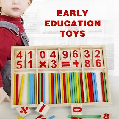 Math Wooden Counting Blocks Sticks Kids Educational Learning Toy Abacus Gift UK
