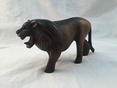 Vintage Hand Carved Wooden Lion Figurine / Statue-8 Inches Long-4 Inches Tall
