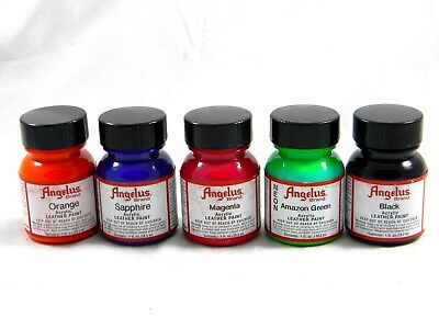 5 Pack Angelus Leather Acrylic Paint 29.5ml/1oz  - You Choose from 65 Colours!