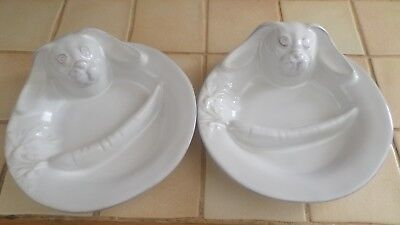 lot 2 assiettes apero lapin relief PAQUES presentation entree etat neuf