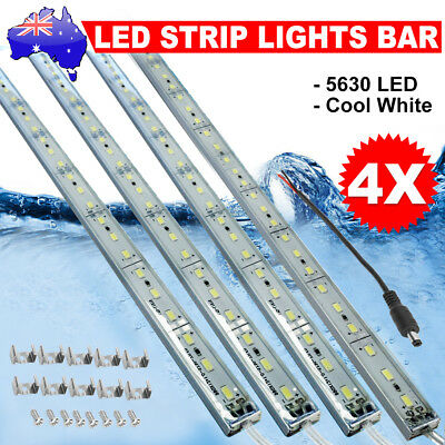 4X12V Led Strip Lights Bars Waterproof Cool White Camping Caravan Boat Car