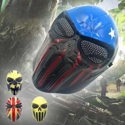 UK Skull Full Face Mask For Airsoft Paintball War Game Halloween Party Kids Gift