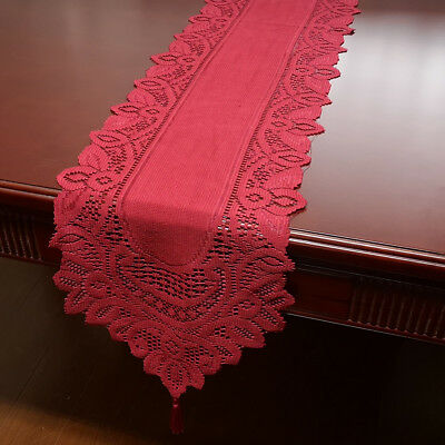 Red Vintage Lace Table Runner Dresser Scarf Oval Doily Wedding Floral 13x70inch