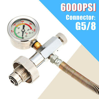 G5/8 6000PSI DIN Paintball Filling Station Charging Adaptor w/ Gauge + 28'' Hose