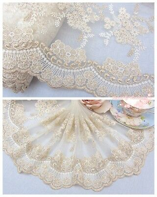 "10""*1Y Embroidered Floral Tulle Lace Trim~Ivory+White+Gold~Gorgeous Dreamland~"