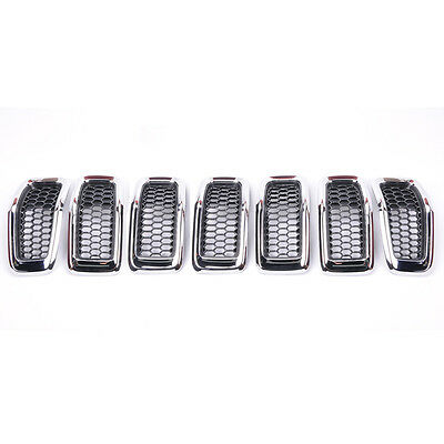 PAST 7Pcs New Gray & Black Front Grille Mesh Inserts For 2013-2016 Jeep Cherokee
