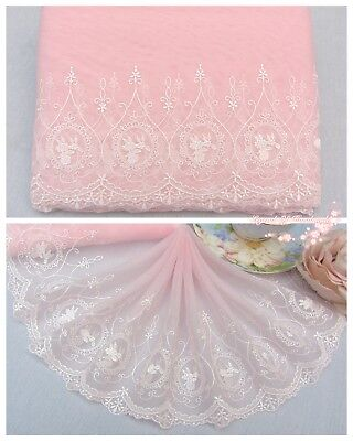 "7""*1Y Embroidered Floral Tulle Lace Trim~Sweet Pink+White~Rose Portrait~Lovely"