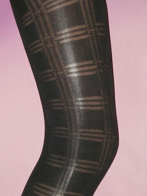 Age 9-11 Tights Girls Footless Opaque Black Square Patterned. Thick