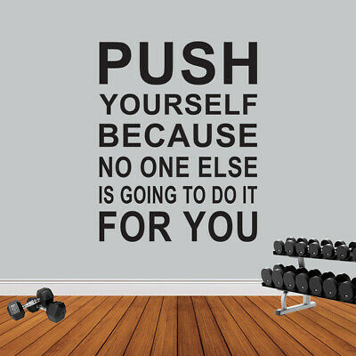 Push Yourself Gym Fitness Wall Sticker Workout Motivation Quote Wall Art Decal