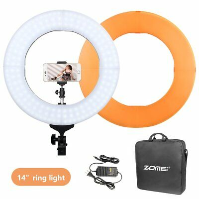 Double Way Dimmable LED Ring Light Photo ZOMEI 14 Inch Photographic Lamp EK